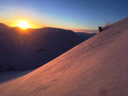 Solnedgång på Gagnesaksla tidigt i januari